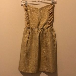 Eight Sixty gold threaded strapless dress